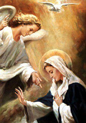 Nuestra Madre Con El Angel Gabriel H Maria