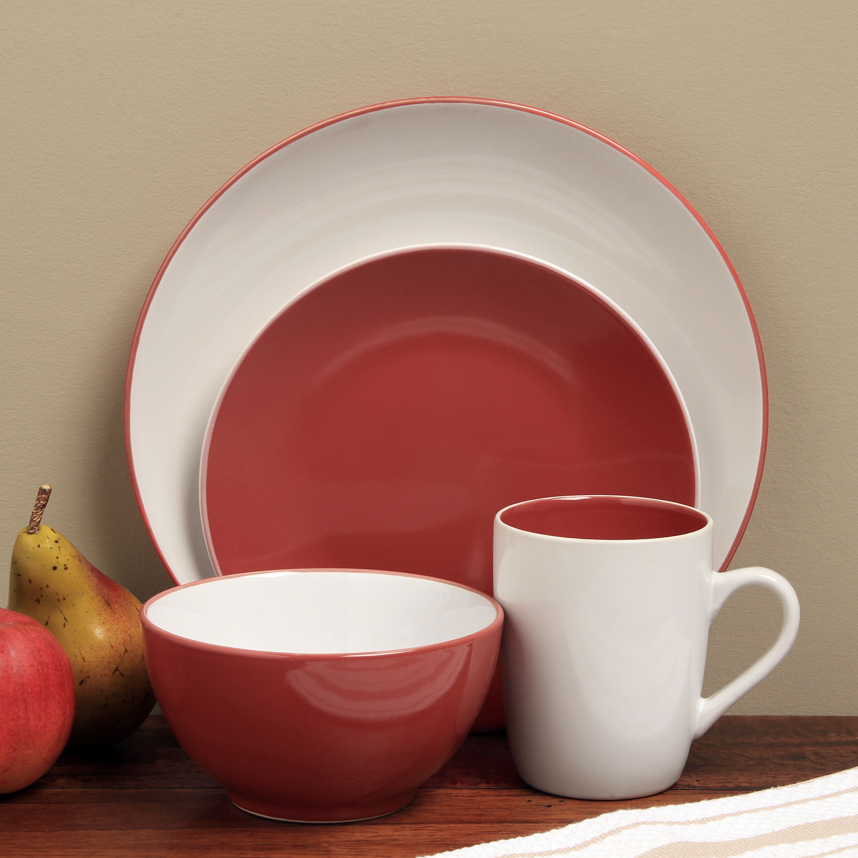 This contemporary Sofia dinnerware showcases a stylish two-tone finish in lively red and white & Sofia Red/ White 16-piece Dinnerware Set | Dinnerware Stoneware and ...