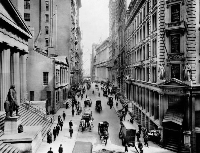 Old New York - a view down Wall Street