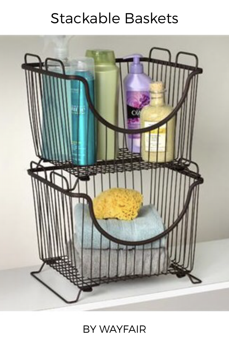 I Just Love These Stackable Wire Baskets They Re Perfect For The Pantry Or The Bathroom Wirebaskets Stackable Storage Bins Stackable Baskets Stacking Basket