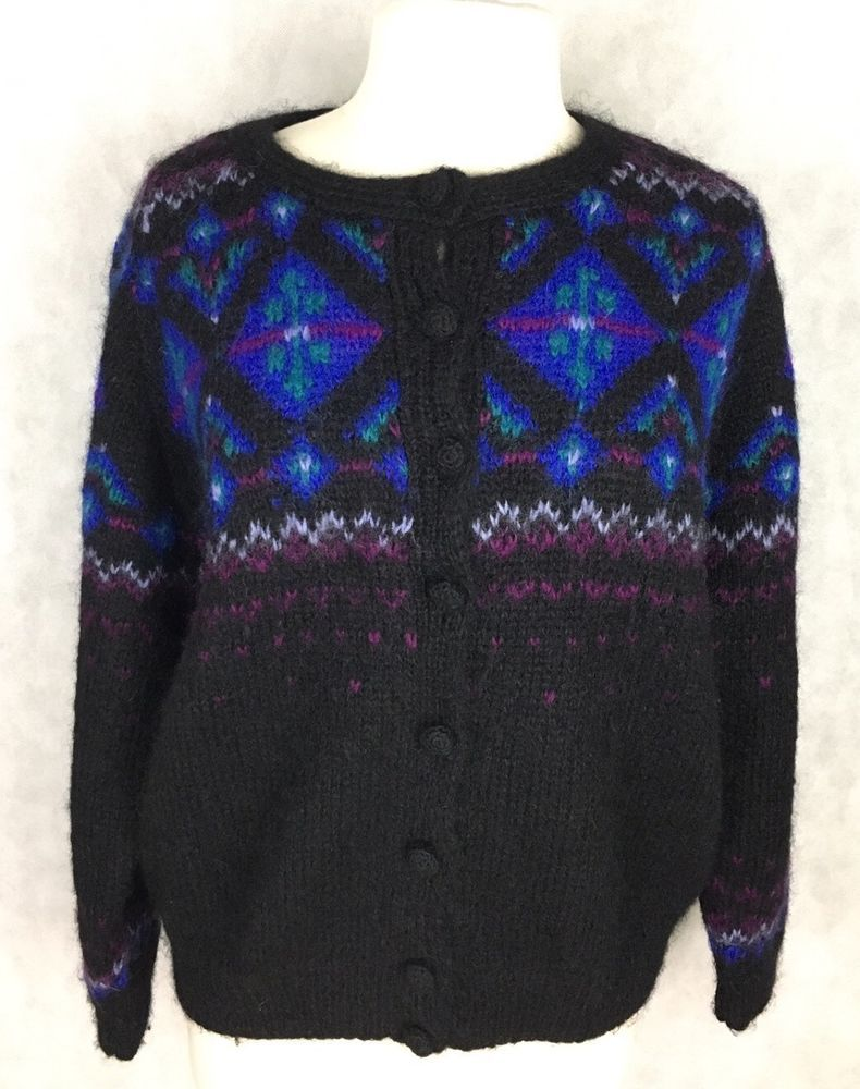 LL Bean Cardigan Sweater Size L Fair Isle Nordic Mohair | eBay ...
