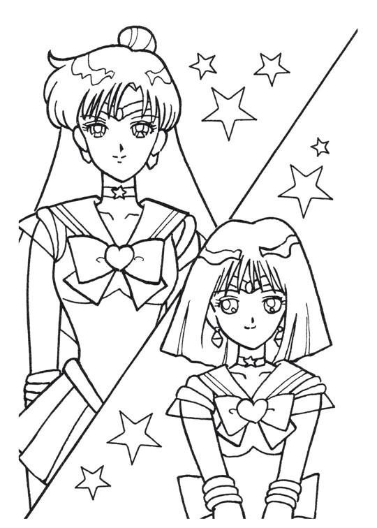 Sailor Moon Series Coloring Pages Sailors Pluto and Saturn