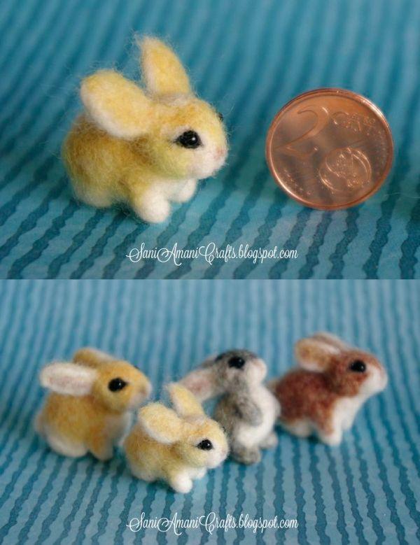 Needle felted bunny family miniature by juanita #needlefeltedbunny