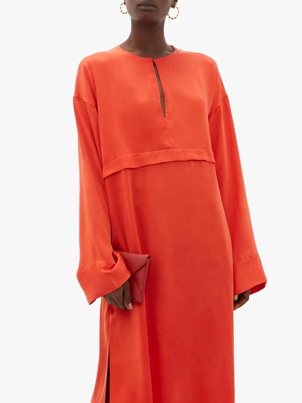 Green Oversized Maxi Satin Shirt with Long Sleeves and Pleats Loose Fitting Blouse
