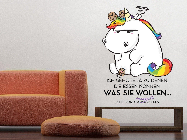 Einhorn Kinderzimmer: Unicorn | Wandtattoo Pummeleinhorn flauschig ...
