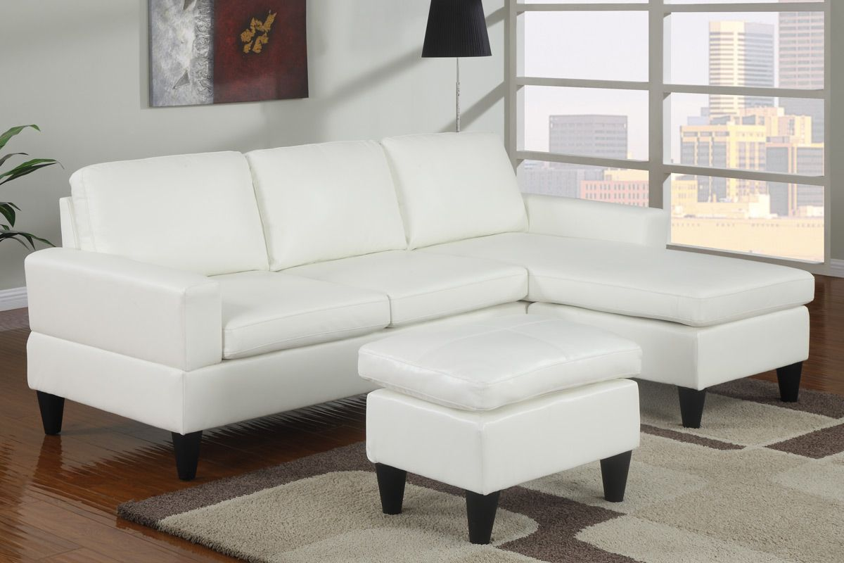 Poundex F7298 Clearance 3 Pc Cream Faux Leather Small Space Sectional Sofa Reversible Chaise And Leather Like Vinyl Ottoman Sectional Sofa White Leather Sofas Small Space Sectional Sofa