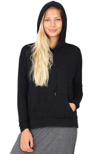 Black Long Sleeve Hoodie at Blush Boutique Miami - ShopBlush.com