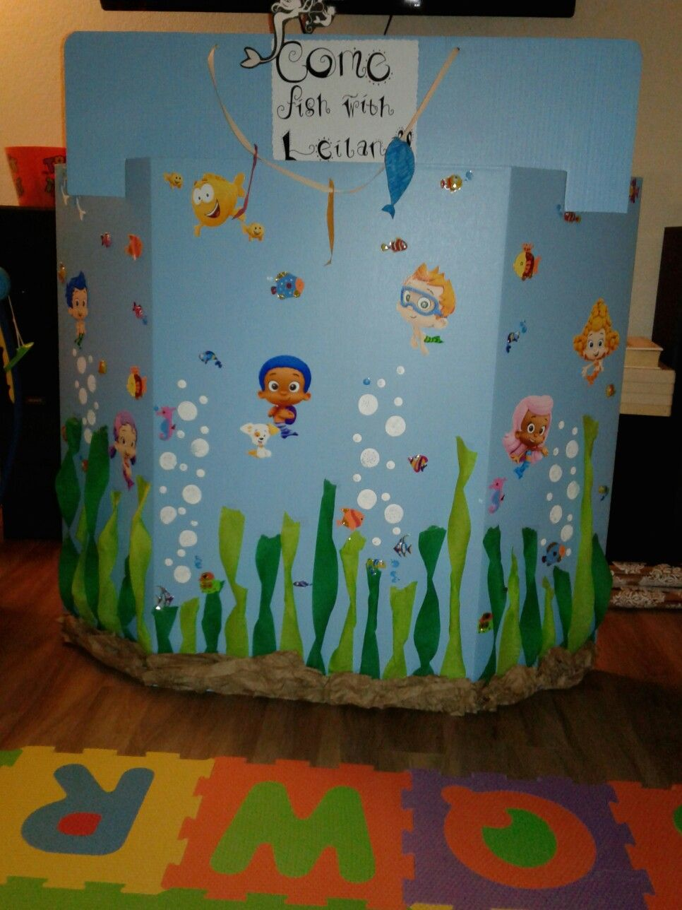 My daughter's fishing booth.. bubble guppy theme. Bubble