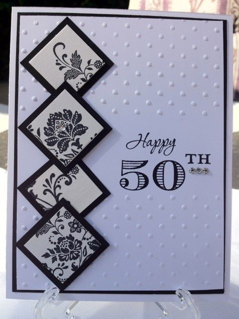 Classy And Elegant 50th Birthday Handmade Card Black White