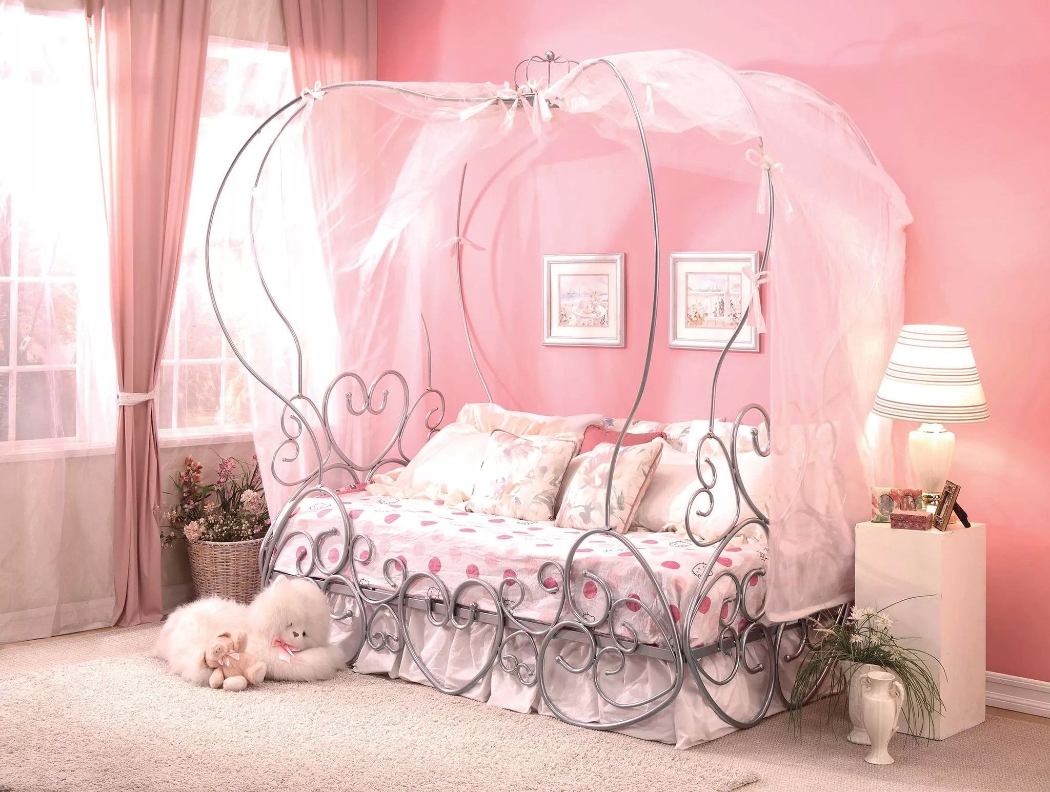 Priya Silver Twin Canopy Bed 37190T Princess canopy bed
