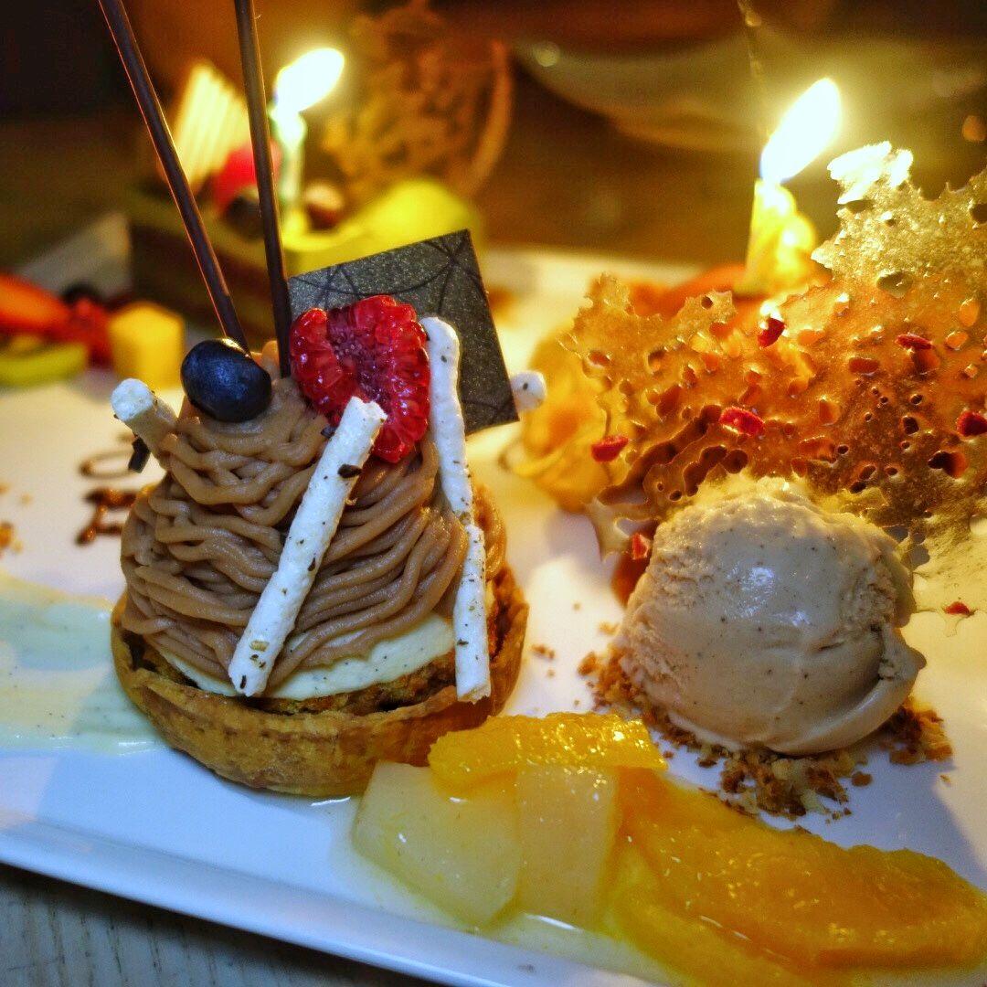 Spiced Chestnut Tart (seasonal) - rum raisin bavarois, chestnut vermicelli, caramel sponge, Tonka bean cream, Bartlett pear compote, honey fig ice cream 👍 at Miku
