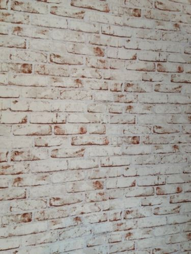 Realistic White Painted Distressed Red Brick Wall Effect Feature Wall  Wallpaper. AS CREATION DISTRESSED BRICK EFFECT RED   WHITE WALLPAPER 9078 13
