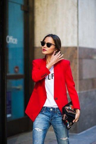 4d6fff96bb Look de moda  Blazer rojo