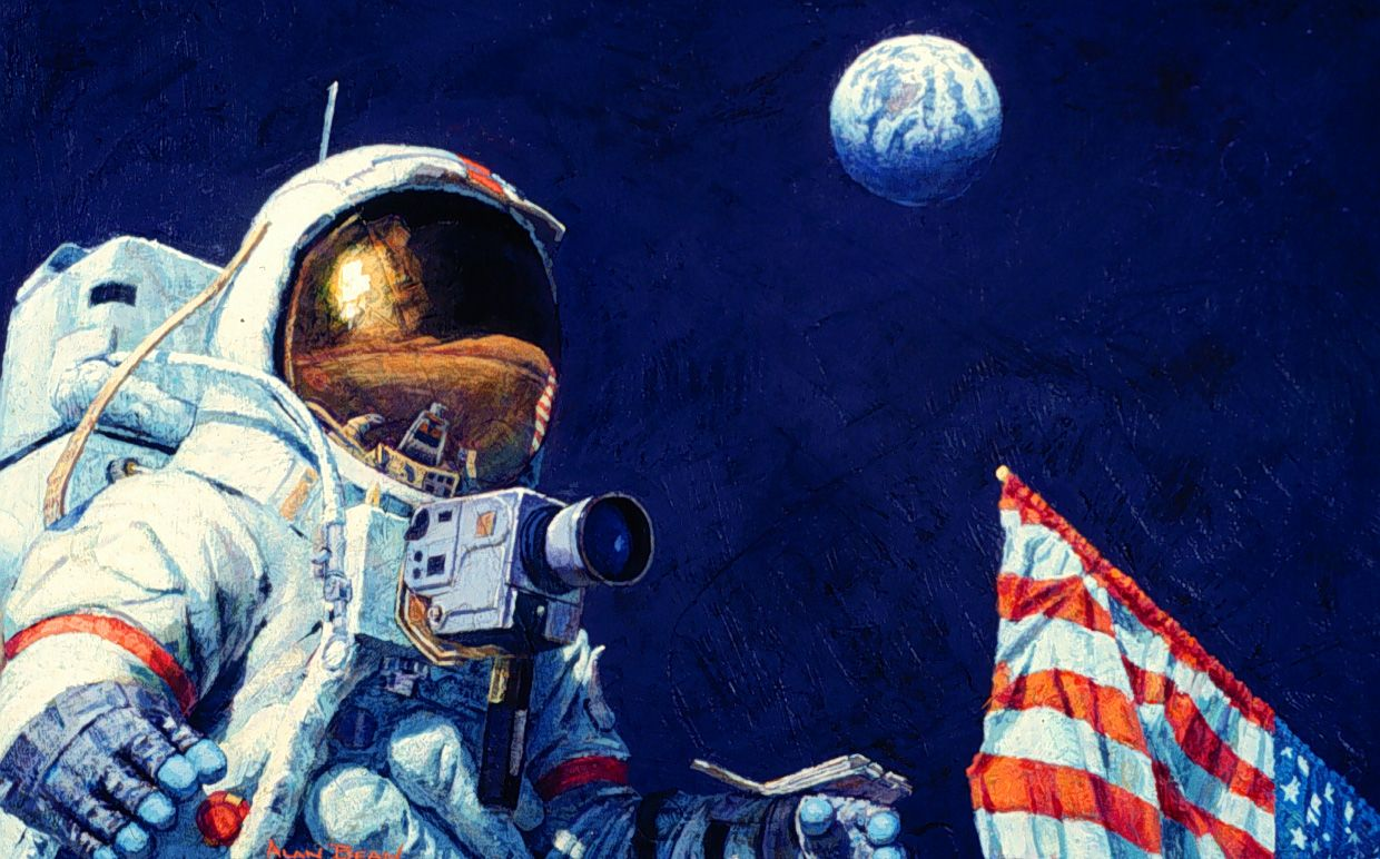 The Last Man On The Moon Space Painting Man On The Moon Space Art