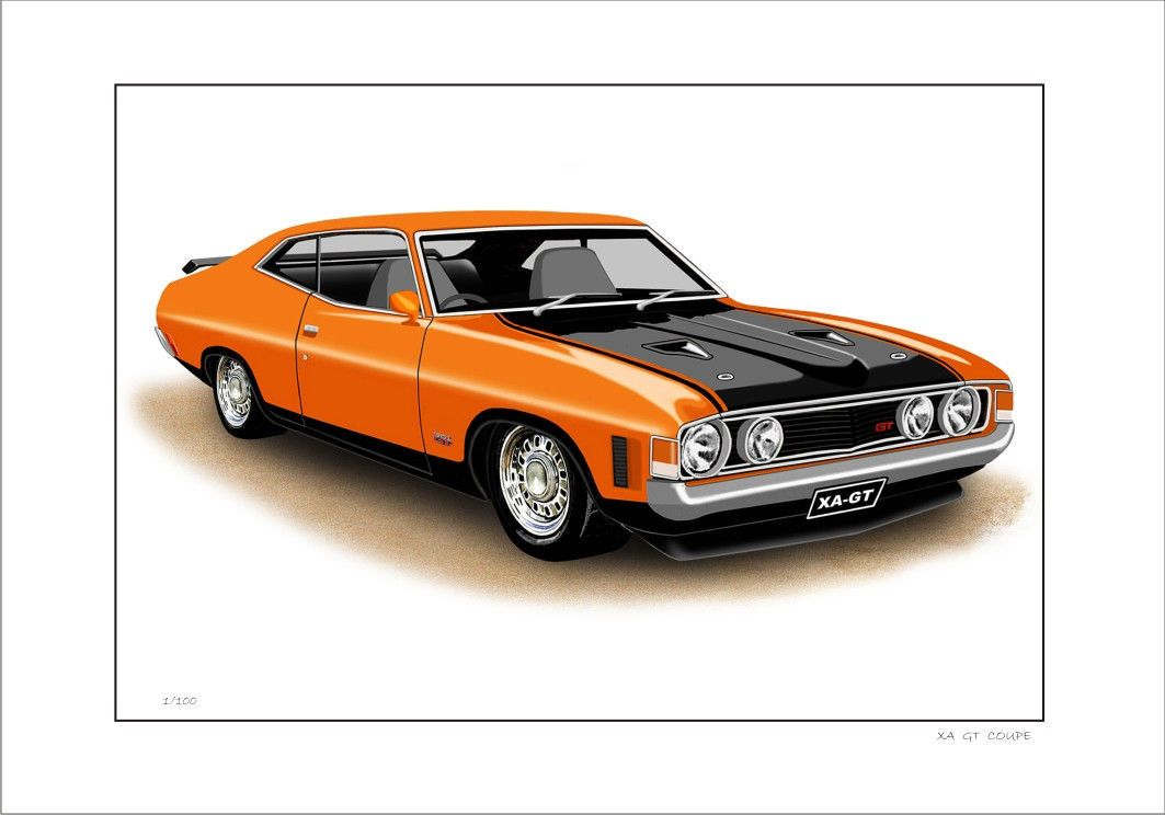 Ford xa 351gt falcon coupe limited edition car drawing print (8 car ...