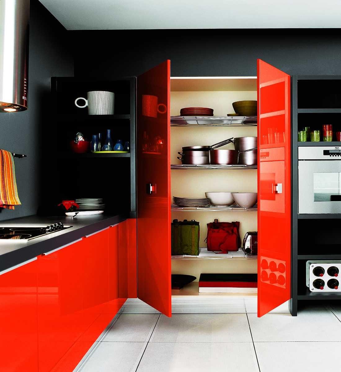 Blackandredkitchendesignwithwhitefloor 1100×1200 Fascinating Kitchen Design Red And Black Decorating Design