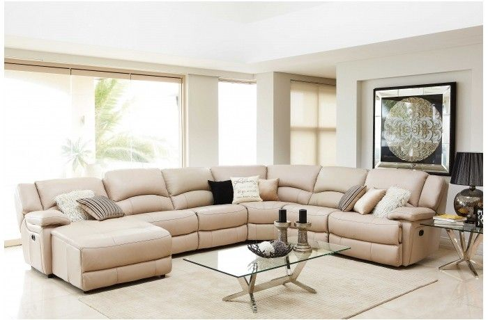 Almere leather modular recliner lounge suite from harvey for Suite modulare