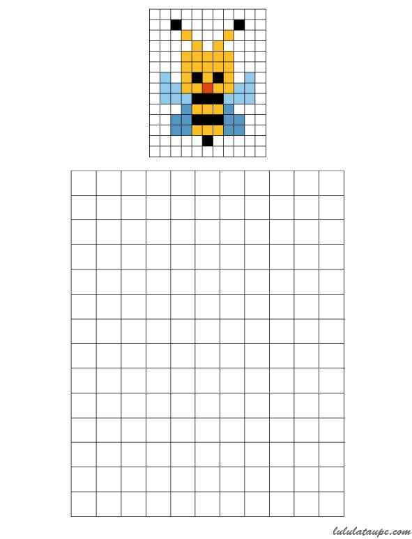 Coloriage De Quadrillage Gratuit.Pixel Art Une Abeille A Colorier Sur Une Grille
