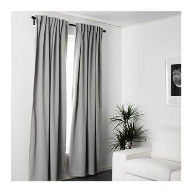 majgull blockout curtains 1 pair grey 145x250 cm