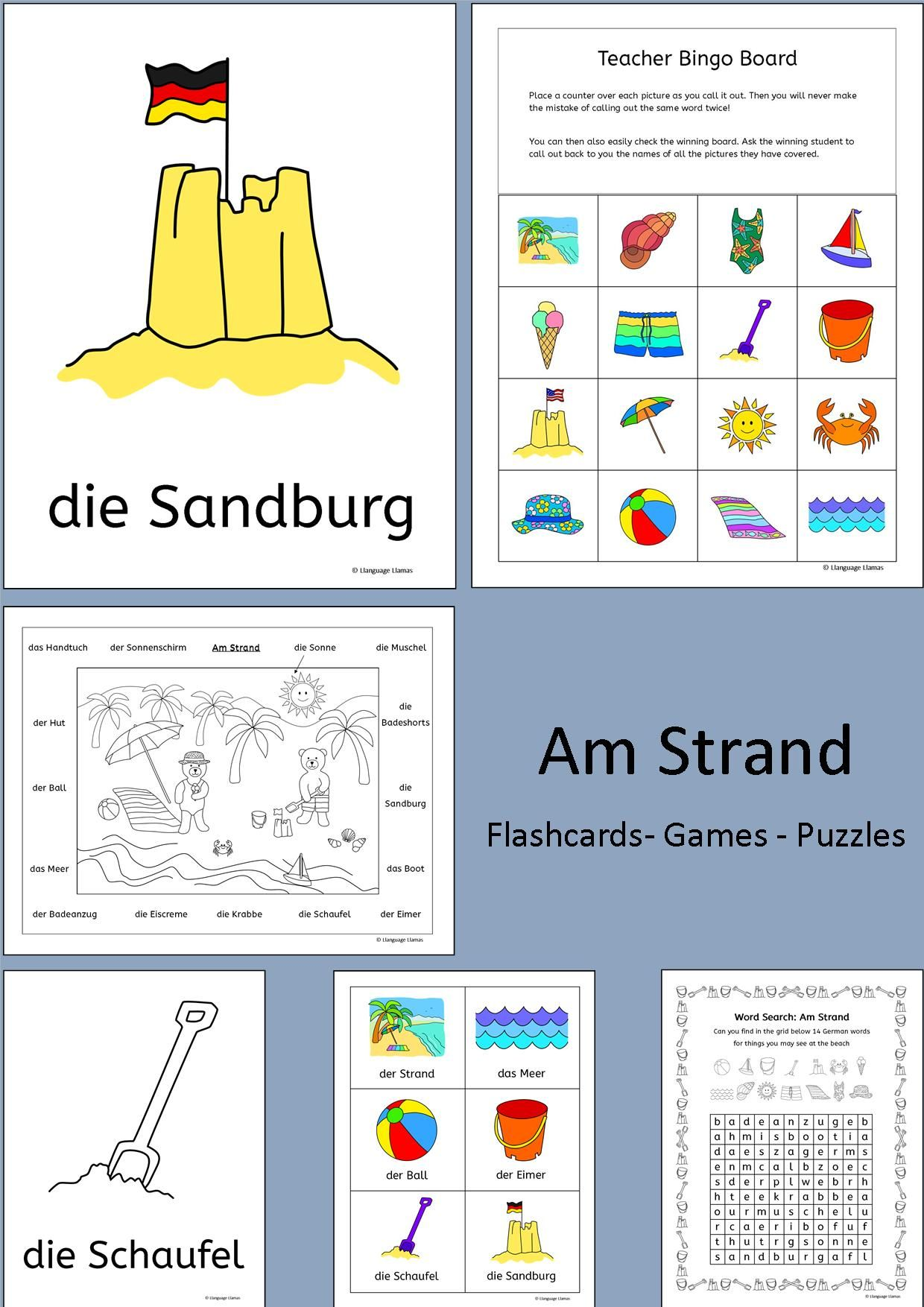 German – At the beach - Am Strand – 109 pages of resources to teach German  vocab for talking about the beach, great for teaching elementary students.