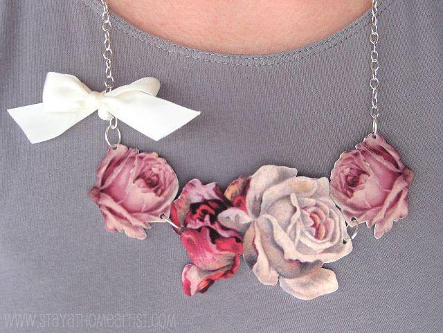 Vintage Floral Necklace Tutorial - printed images on shrink plastic ******************************************** StayAtHomeArtist - #shrink #plastic