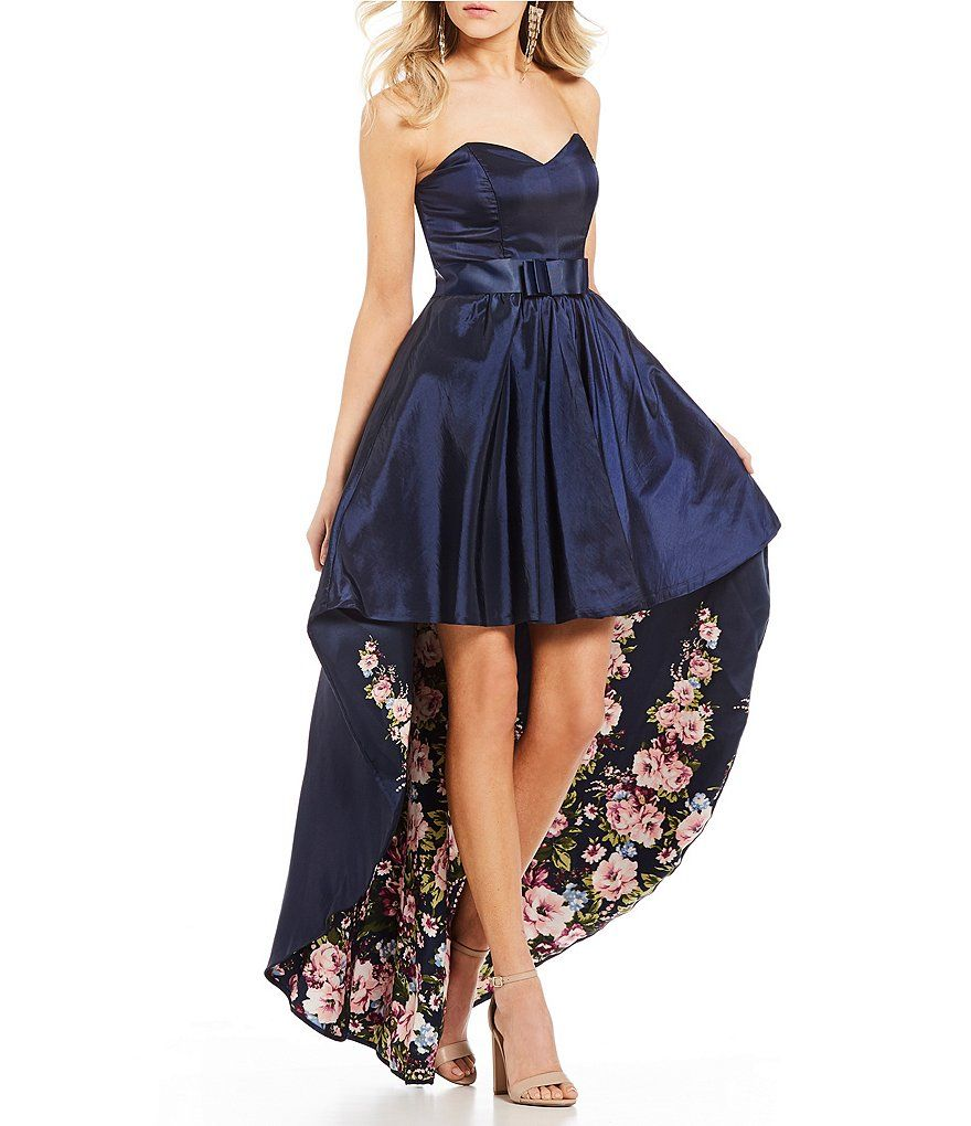 cc868f30dad Jodi Kristopher Floral Print Lining Long High-Low Dress