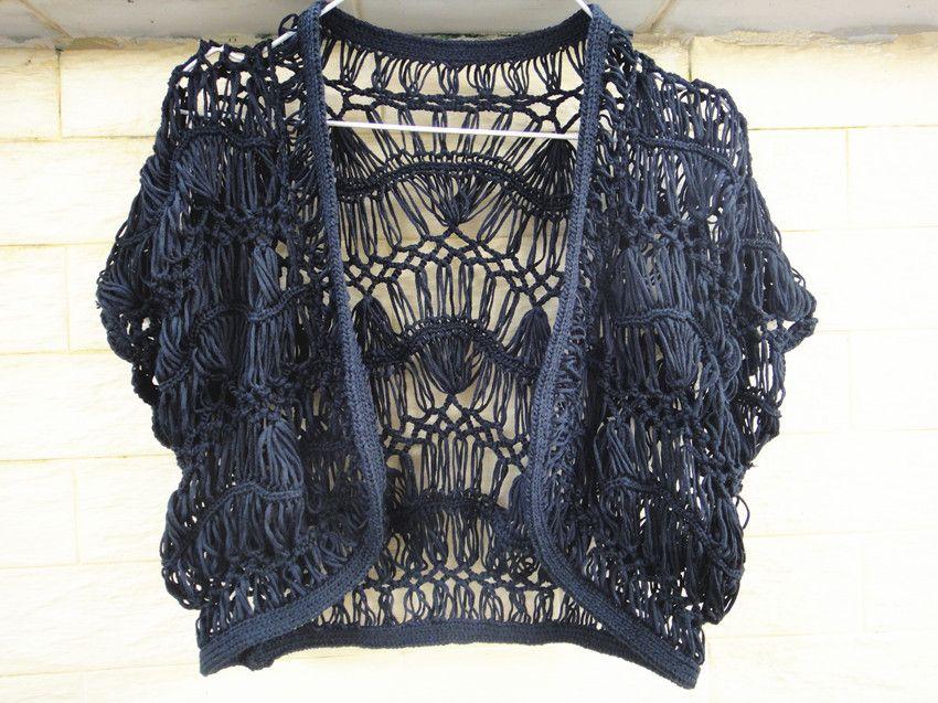 Black Handmade Crochet Shrugs Bolero Jacket Women Boho Clothing
