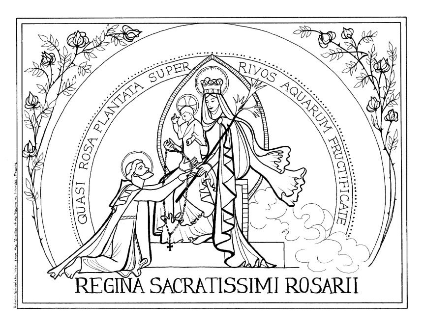 Our Lady Of The Rosary Victory Oct 7th Catholic Coloring Page