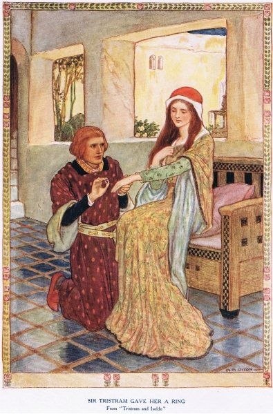 Sir Tristram gave her a ring, from 'King Arthur and the Knights of the Round Table', by Doris Ashley, published 1921