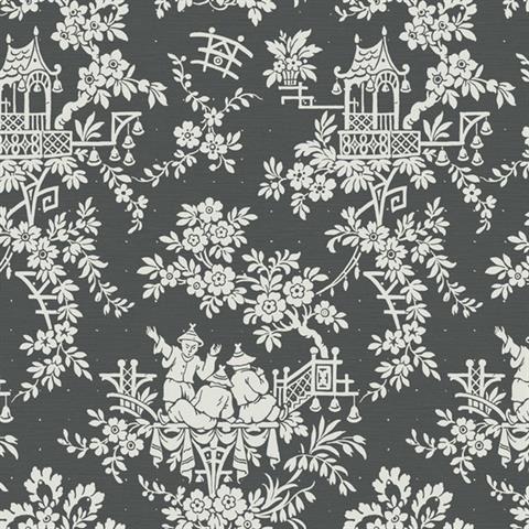 Charcoal Tea House Toile Wallpaper