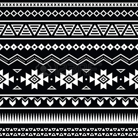 Aztec Seamless Pattern Tribal Black And White Background