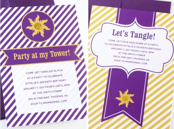 Free Printable Tangled Party Invites – Rapunzel Party Invitations