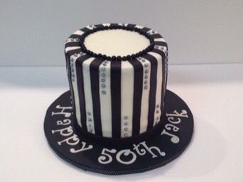Black and white striped 50th birthday cake by Jillees Goodees
