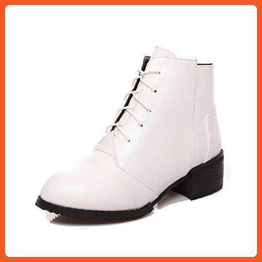 Women's Round Closed Toe Kitten Heels Soft Material Solid Lace Up Boots