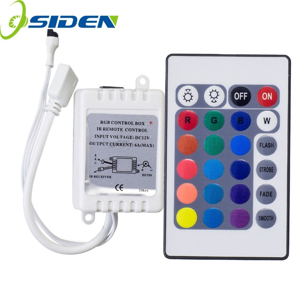 Osiden Dc12v 24 Keys Ir Remote Rgb Controller For Smd3528 5050 5730 5630 3014 Rgb Led Strip Lights Mini Led Strip Lighting Rgb Led Strip Lights Strip Lighting