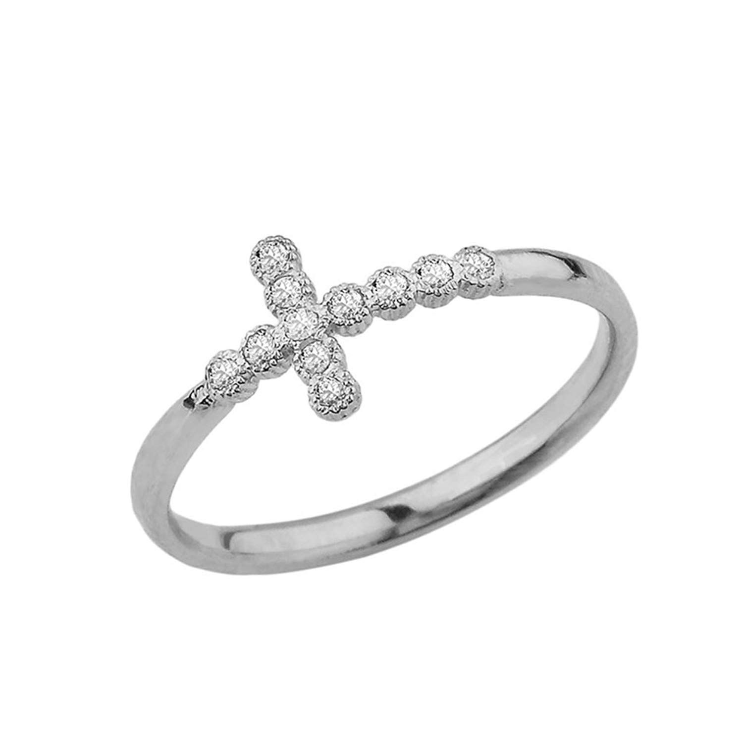 Fine 10k White Gold Modern Diamond Sidesways Cross Ring Thanks For Seeing Our Photo This Is An Affiliate Link Sta Modern Diamonds Cross Ring White Gold