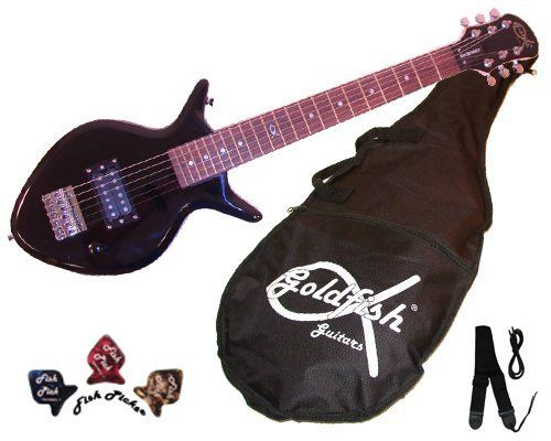 """Rockfish Guitar by Goldfish Guitars. $99.00. Introducing the Rockfish! All ages will love this small jet black guitar. Rockfish is a lightweight short scale guitar (22 1/2"""") measuring 32"""" in total length. Guitar has 20 frets, rosewood fretboard, quality tuners, and metal trussrod to keep the neck straight. Rockfish can be plugged into any amp (amp sold separately). Goldfish kids guitars are twice the quality of toy store guitars at the same price. Teens and adult..."""