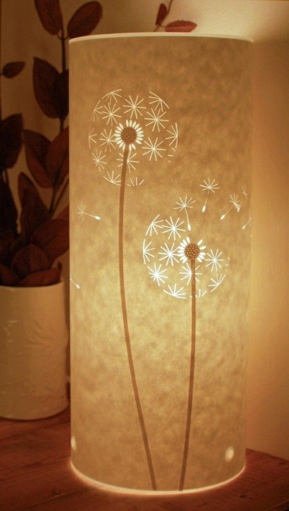zylinder lampe papier basteln h ngend tischlampe dandelion l wenzahn pinterest lampe. Black Bedroom Furniture Sets. Home Design Ideas