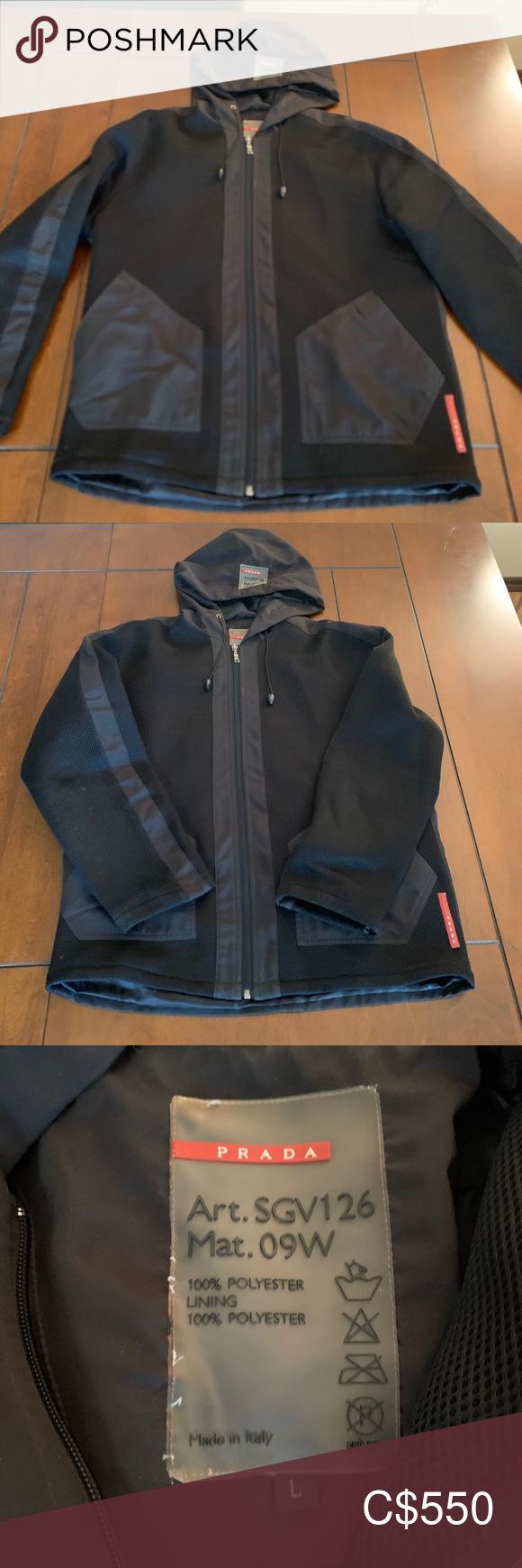 Prada Men S Svg126 Black Jacket L Prada Men Black Jacket Jackets [ 1740 x 580 Pixel ]
