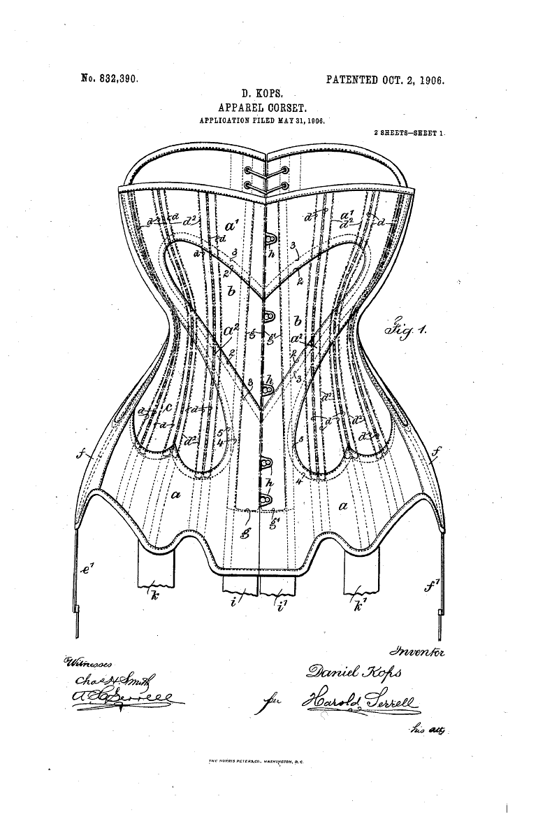 Really cool 19 corset patent with cool heart shape  Corsagen