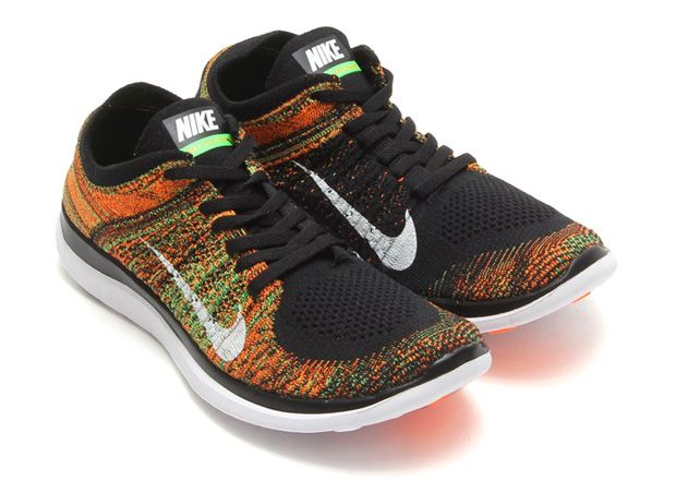 NIKE FREE 4.0 FLYKNIT Black/Poison Green/Total Orange/White