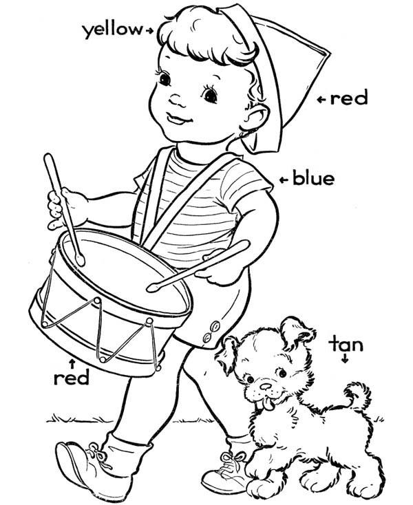 Kindergarten Kids Playing Drum Coloring Page : Coloring