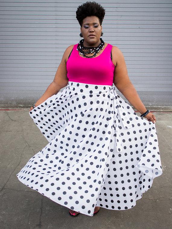 Plus Size Maxi Skirt Polka Dot plus size by ...