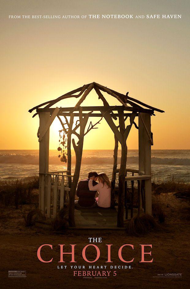 The Choice (2016): Travis y Gabby encuentran por primera vez como vecinos en un pequeño pueblo costero y terminan en una relación que estárá a prueba por la mayoría de los eventos que definen la vida.