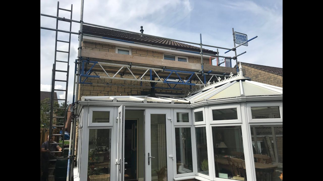 Upvc Fascia Soffit Guttering Installation Over Conservatory With Scaffol How To Install Gutters Installation Upvc