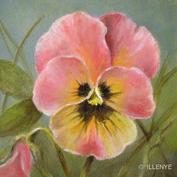 Pink Pansy Oil Painting Watercolor Flowers Folk Art Flowers Flower Art
