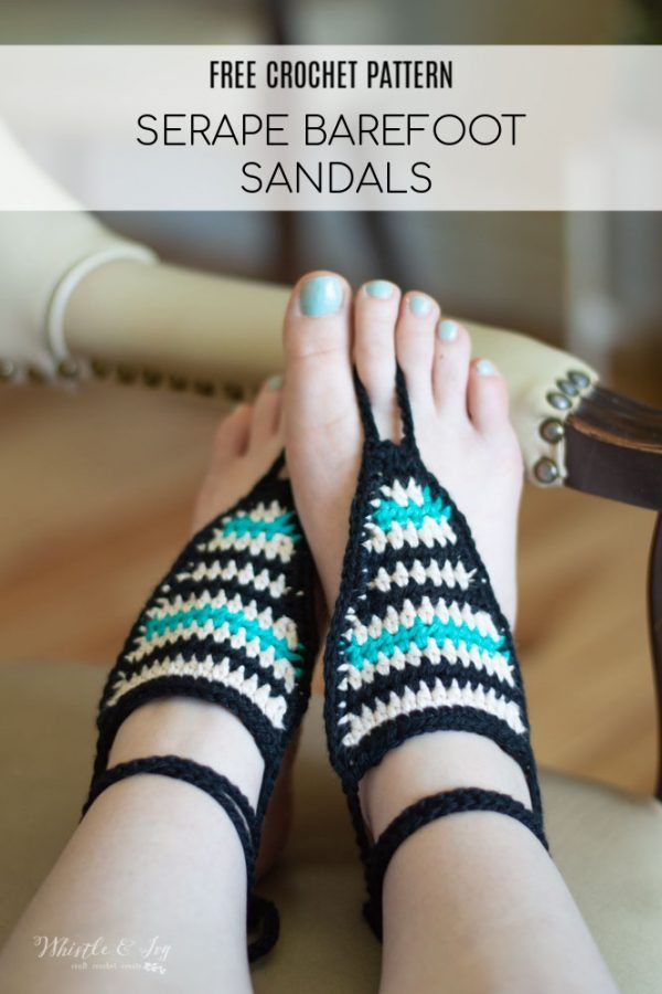 Serape Crochet Barefoot Sandals Free Crochet Pattern