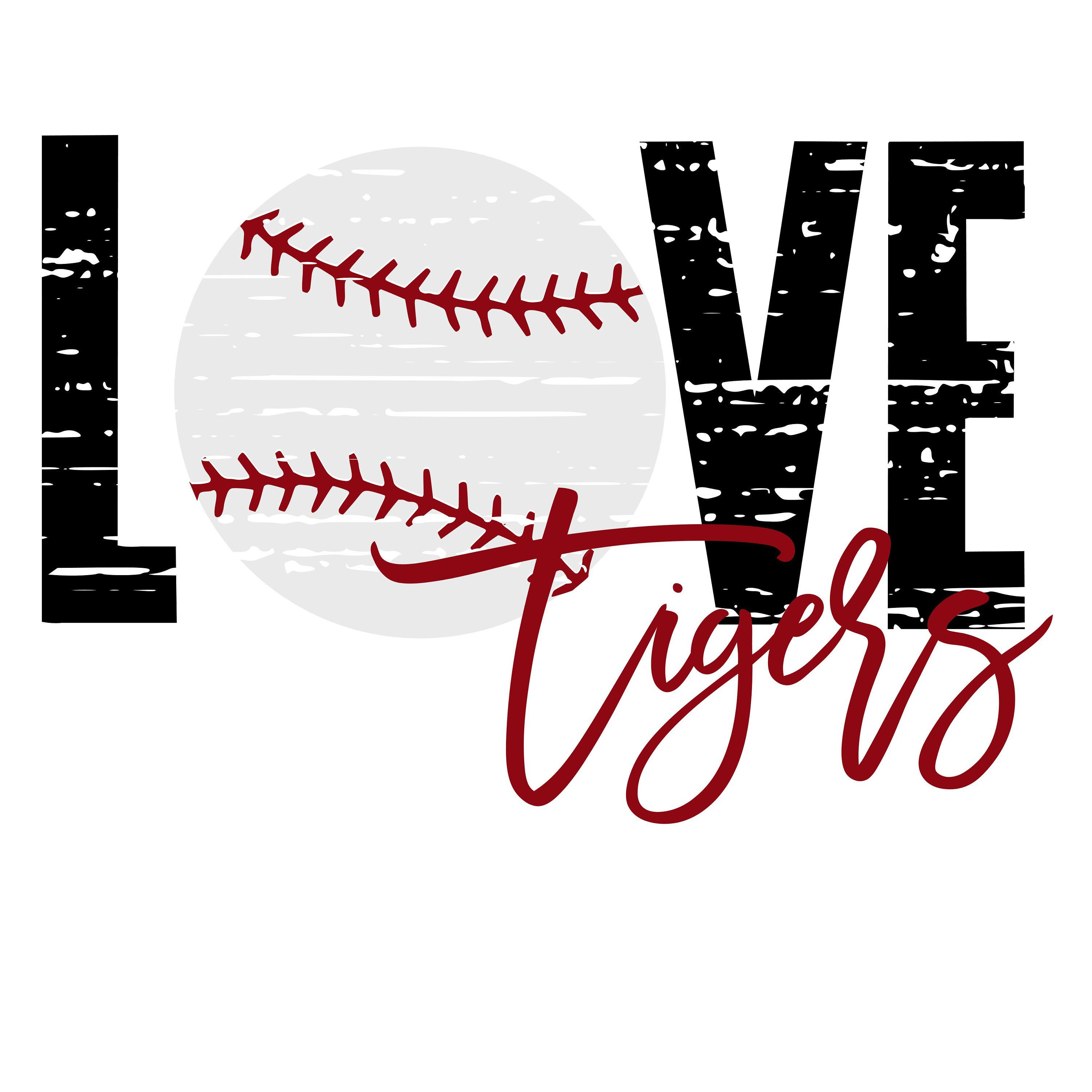 Download Love Tigers DIstressed Baseball SVG/PNG   Team names, This ...