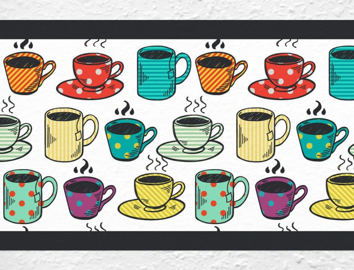 Border kitchen cups kitchen decoree coffee house Etsy