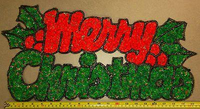 Vintage Christmas Popcorn Decoration Merry Christmas Sign W Holly Merry Christmas Sign Christmas Signs Vintage Christmas